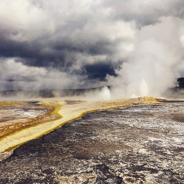 Geysers in Yellowstone National Park attest to the presence of a supervolcano, w