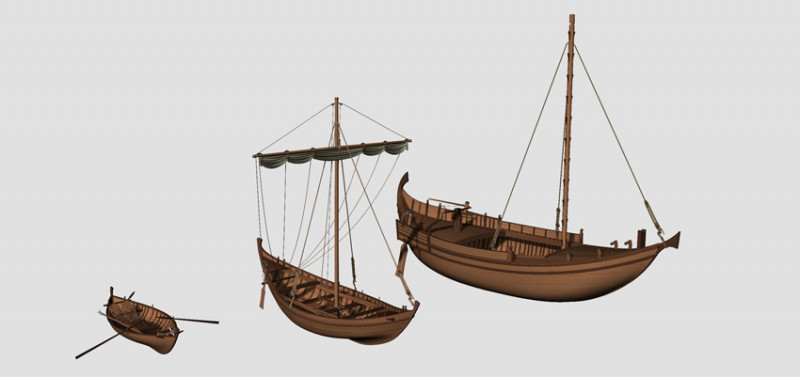 3D reconstructions of the three boat types found in Fiumicino: fishing boat (lef