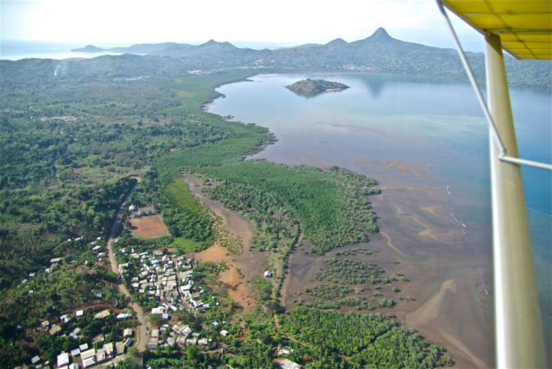 Microlight view of the mangrove in the bay of Bouéni, Mayotte.  Between the lago